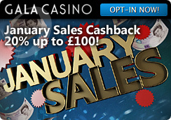 Cash Back Opportunity at the Gala Casino