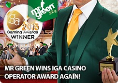 Mr Green Wins IGA Casino Operator Award Again