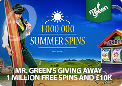 Mr Green's Giving Away 1 Million Free Spins and �10k