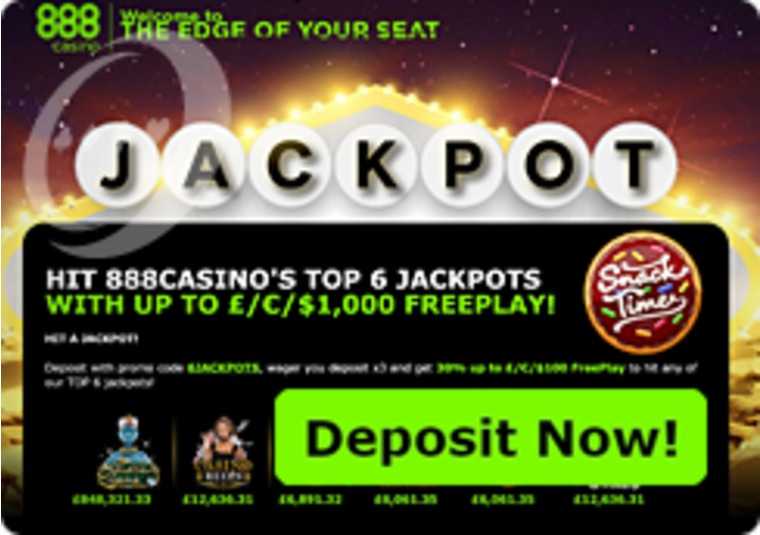 Free Play Up For Grabs at 888 Casino's Top Jackpots