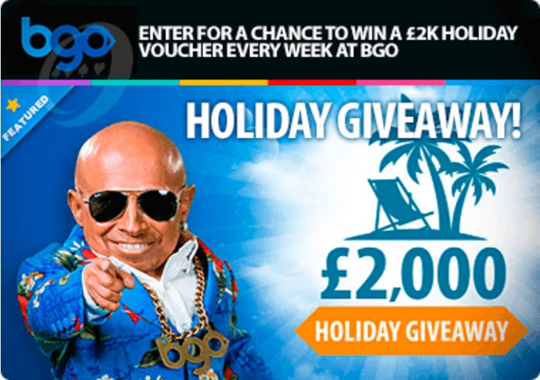 Enter for a chance to win a £2k holiday voucher every week at bgo