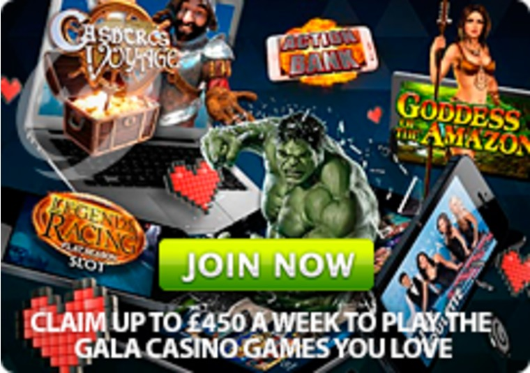 Claim up to £450 a week to play the Gala Casino games you love