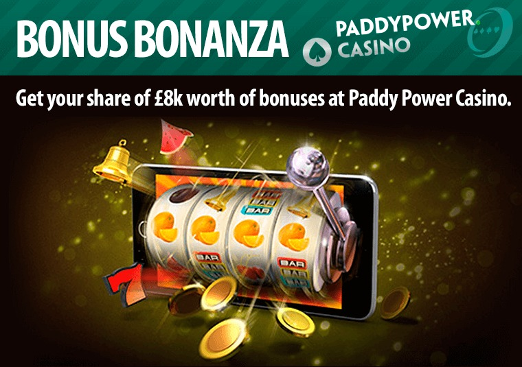 Get your share of £8k worth of bonuses at Paddy Power Casino