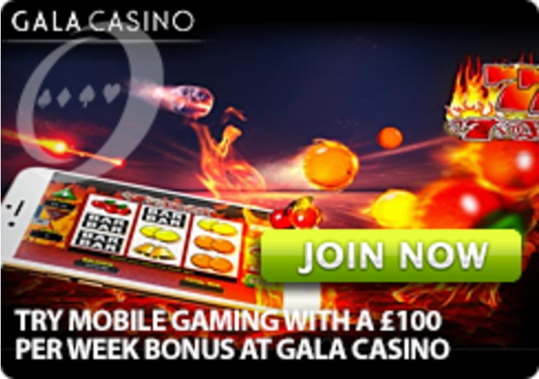 Try Mobile Gaming With a £100 per Week Bonus at Gala Casino