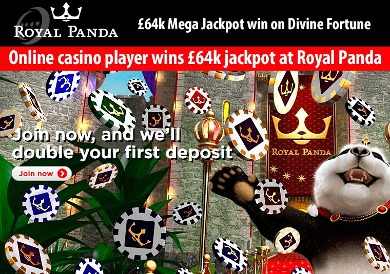Online casino player wins £64k jackpot at Royal Panda