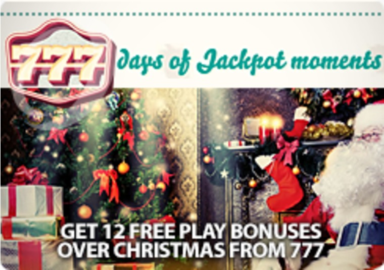 Get 12 free play bonuses over Christmas from 777