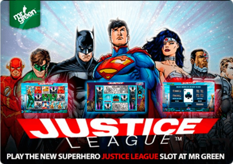 Play the new superhero Justice League slot at Mr Green