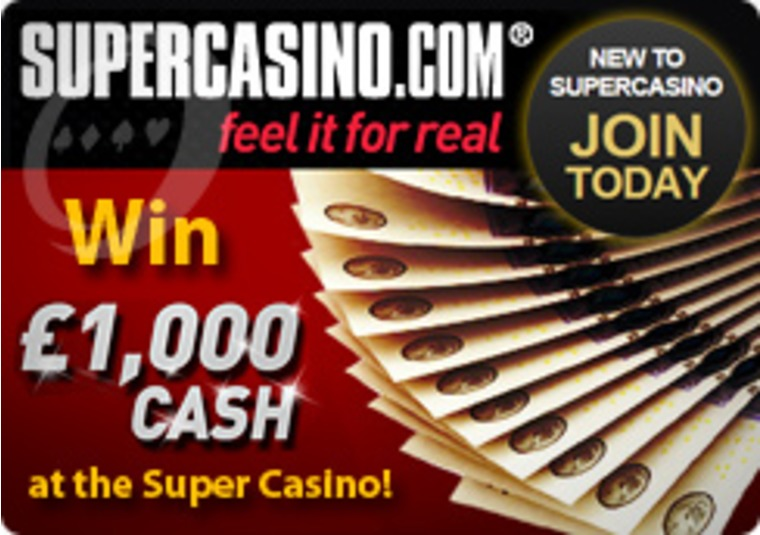 Play to Win £1,000 Cash at the Super Casino