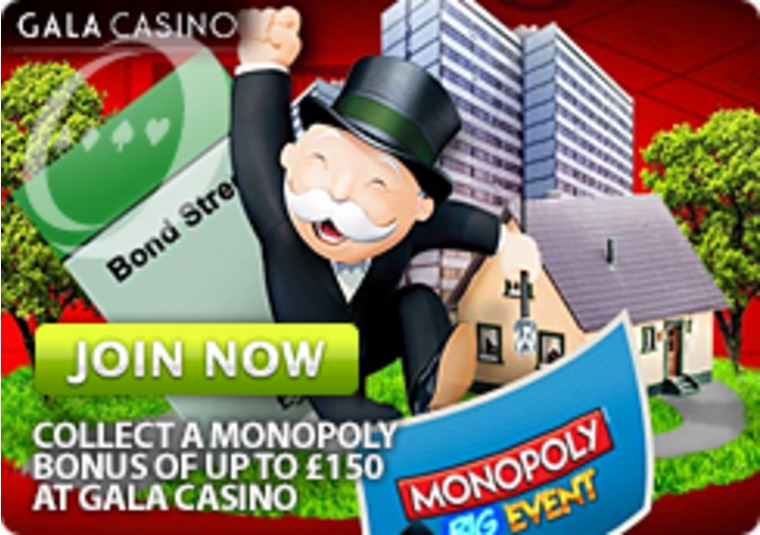 Collect a Monopoly bonus of up to £150 at Gala Casino