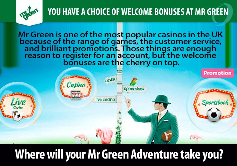 You have a choice of welcome bonuses at Mr Green