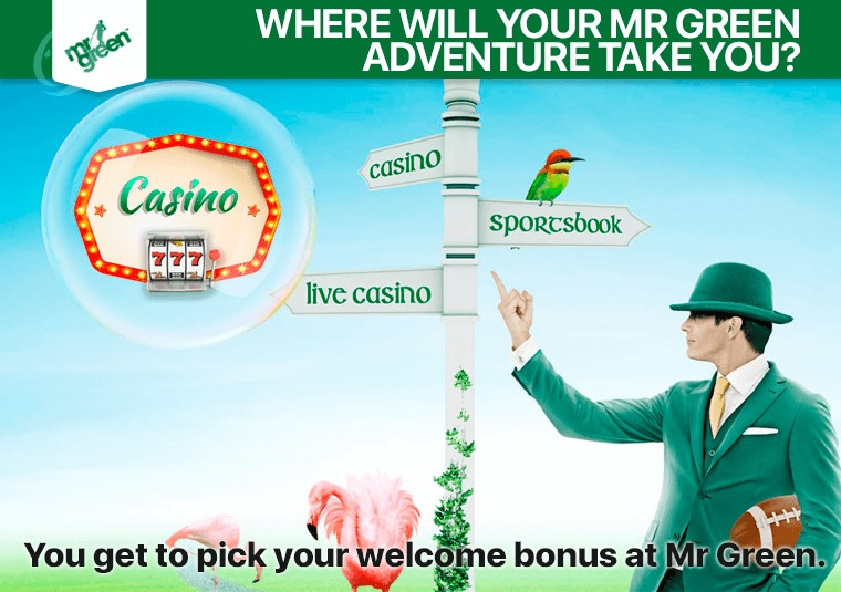You get to pick your welcome bonus at Mr Green