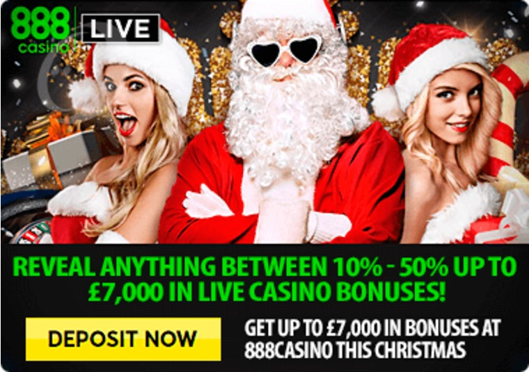 Get up to £7,000 in bonuses at 888casino this Christmas