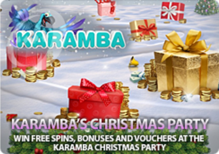 Win free spins, bonuses and vouchers at the Karamba Christmas party