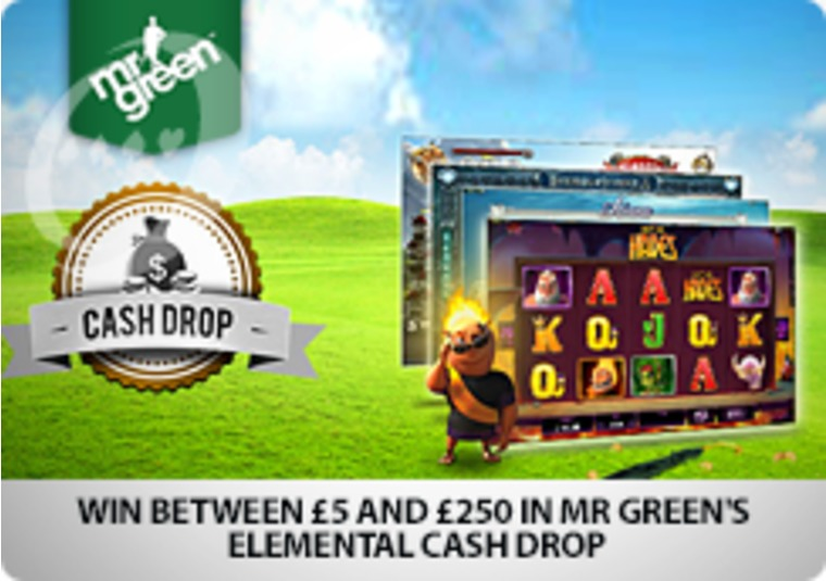 Win between £5 and £250 in Mr Green's Elemental Cash Drop