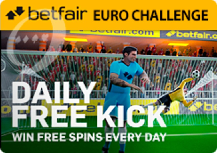 Take a free kick to win free spins on Betfair's Euro Challenge