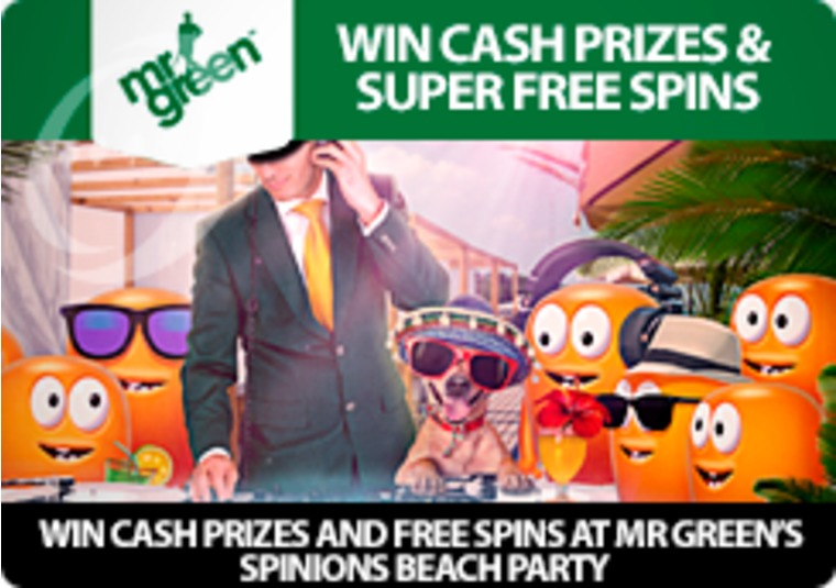Win cash prizes and free spins at Mr Green's Spinions Beach Party