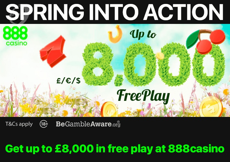Get up to £8,000 in free play at 888casino