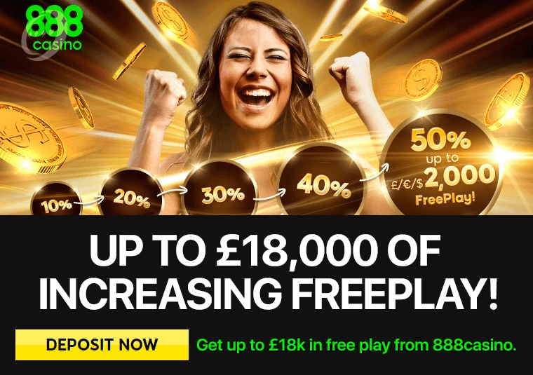 Get up to £18k in free play from 888casino