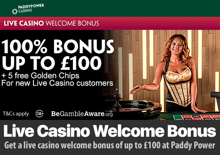 Get a live casino welcome bonus of up to £100 at Paddy Power
