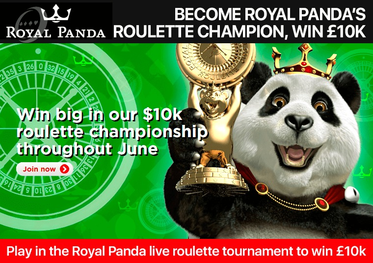 Play in the Royal Panda live roulette tournament to win £10k