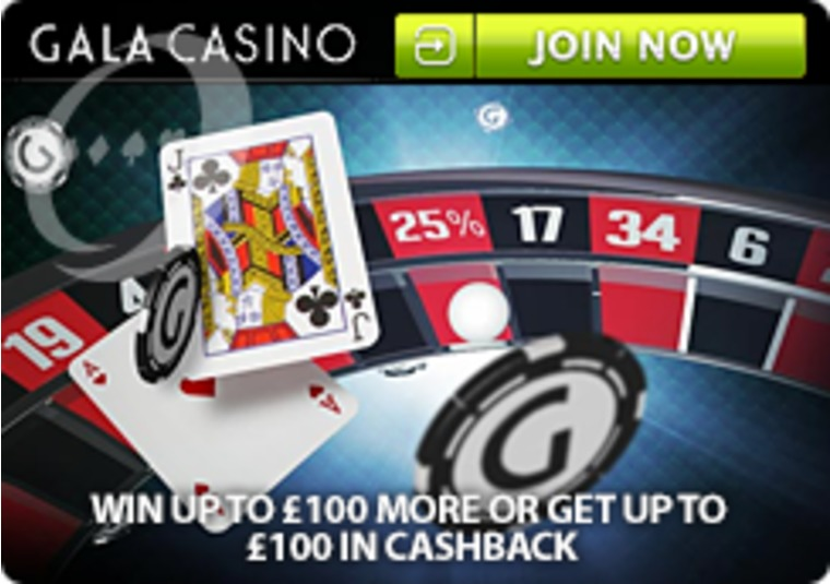 Get 25% cashback or win boost on blackjack or roulette at Gala Casino