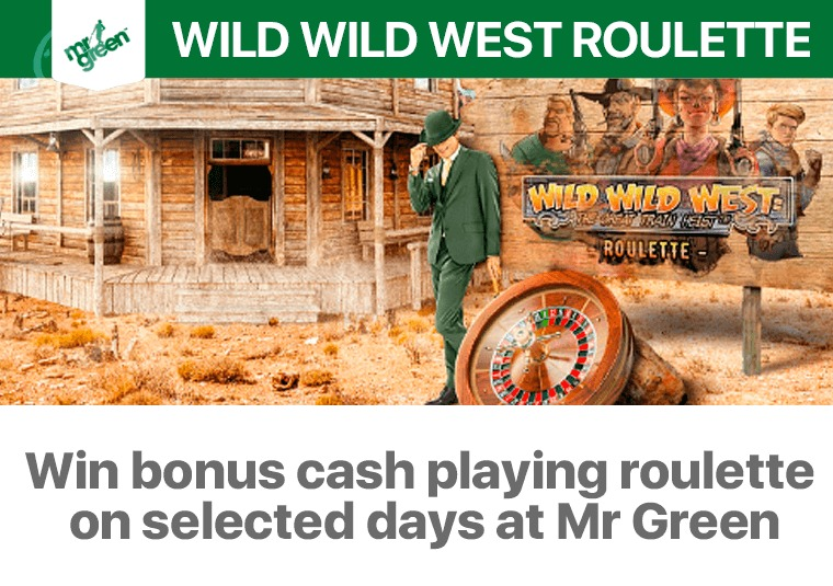 Win bonus cash playing roulette on selected days at Mr Green