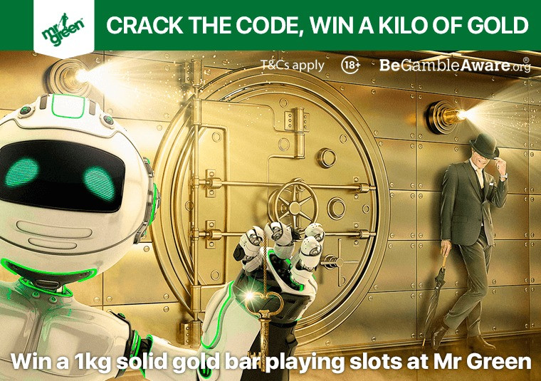 Win a 1kg solid gold bar playing slots at Mr Green