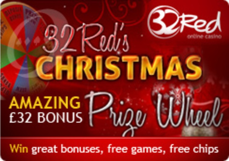 32Red Casino Spins with Christmas Prize Wheel Promo