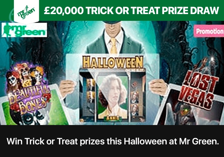 Win Trick or Treat prizes this Halloween at Mr Green