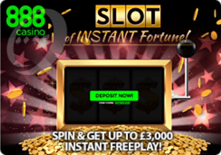 Spin the Slot of Instant Fortune for up to £3k free play at 888casino