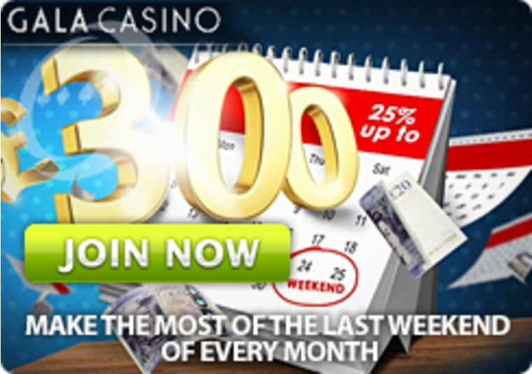 This end of month Booster Bonus from Gala Casino is worth up to £300