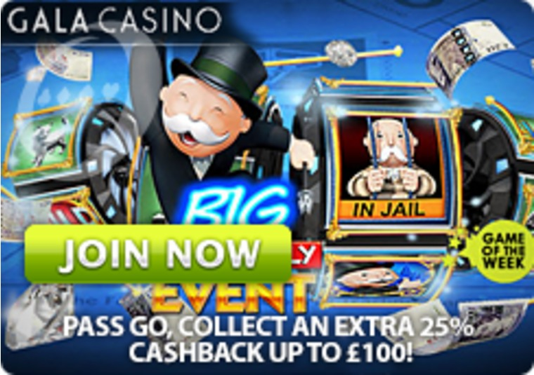 Get up to £100 cash back on Monopoly Big Event at Gala Casino