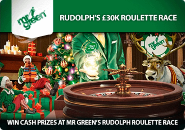 Win cash prizes at Mr Green's Rudolph roulette race