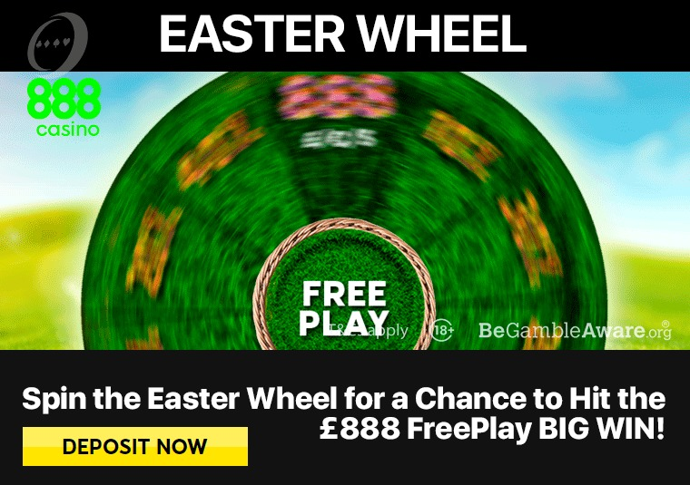 Spin the 888casino Easter wheel to win free play