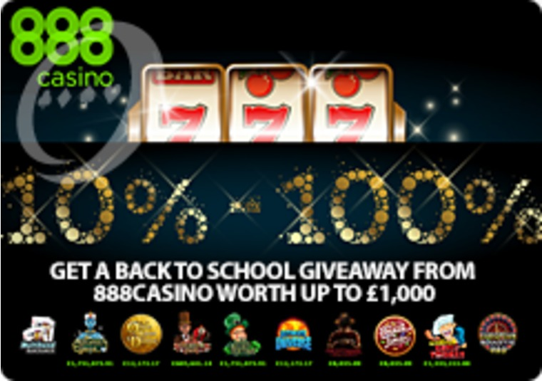 Get a back to school giveaway from 888casino worth up to £1,000