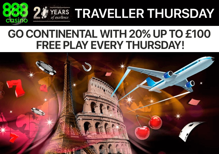 Get up to £100 in free play every Thursday at 888casino