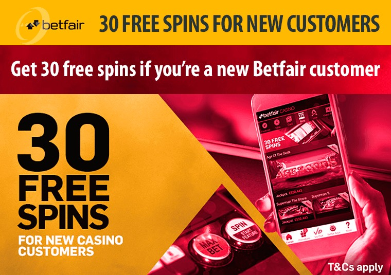 Get 30 free spins if you're a new Betfair customer