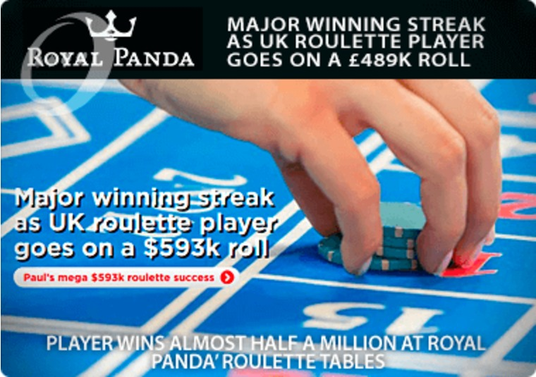 Player wins almost half a million at Royal Panda's roulette tables