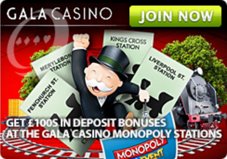 Get £100s in Deposit Bonuses at the Gala Casino Monopoly Stations