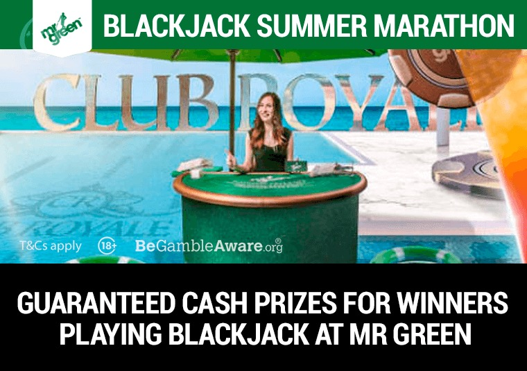 Guaranteed cash prizes for winners playing blackjack at Mr Green