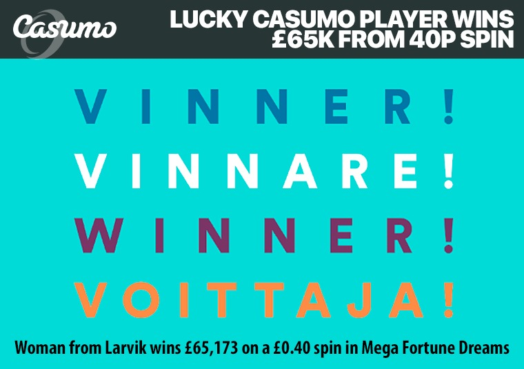 Lucky Casumo player wins £65k from 40p spin