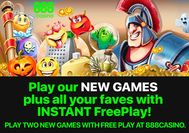 Play two new games with free play at 888casino
