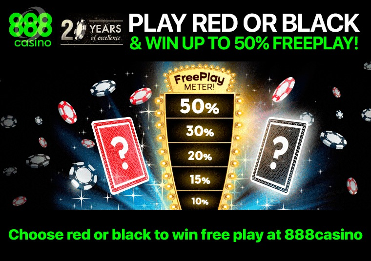 Choose red or black to win free play at 888casino