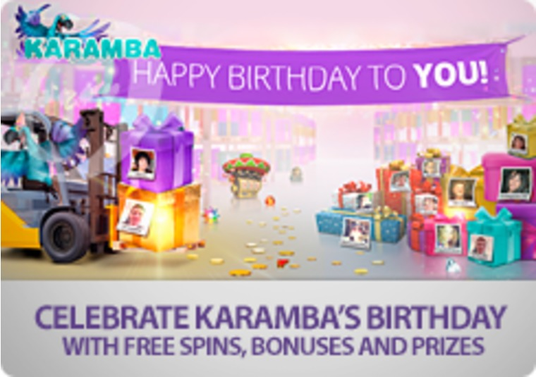 Celebrate Karamba's birthday with free spins, bonuses and prizes