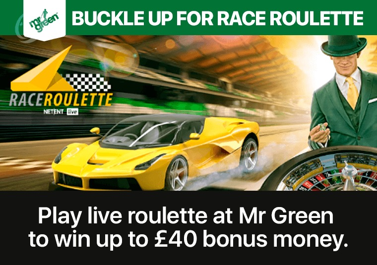 Play live roulette at Mr Green to win up to £40 bonus money