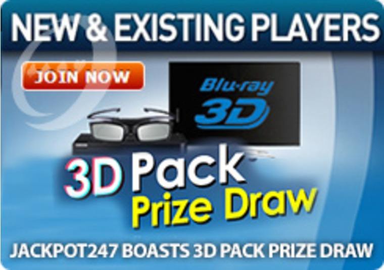 Jackpot247 Boasts 3D Pack Prize Draw
