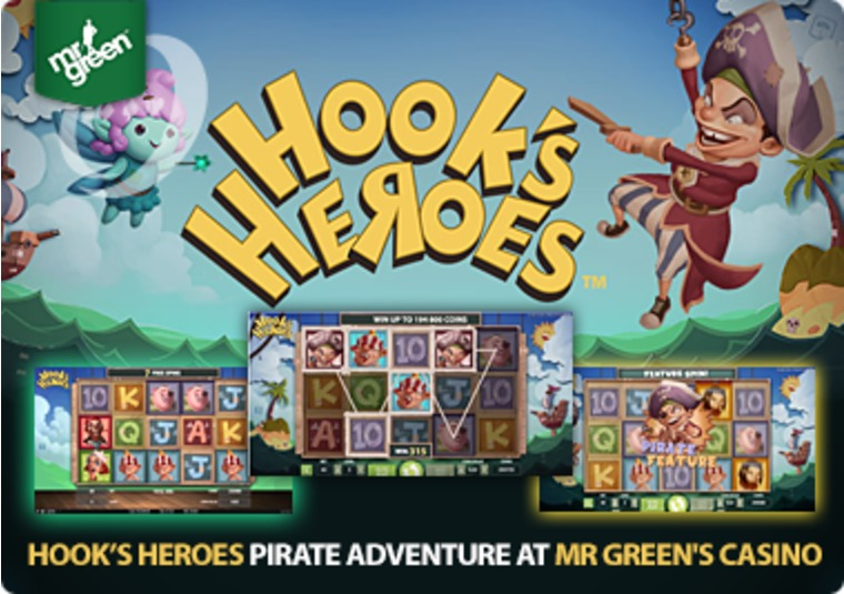 Find the treasure in the new Hook's Heroes slot at Mr Green's Casino