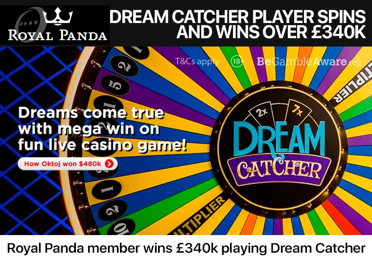 Royal Panda member wins £340k playing Dream Catcher