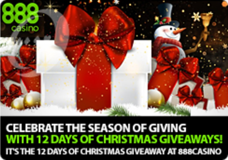 It's the 12 days of Christmas giveaway at 888casino