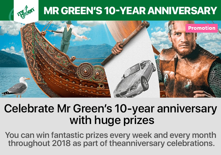 Celebrate Mr Green's 10-year anniversary with huge prizes